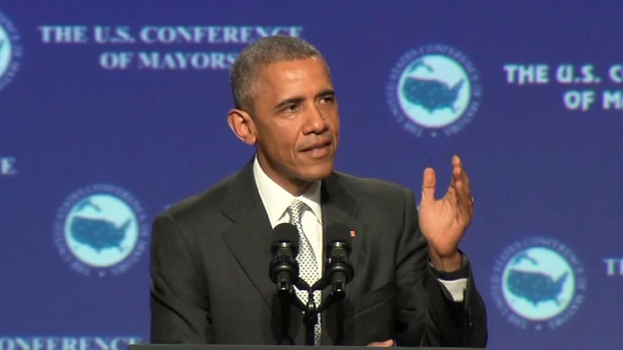 President Barack Obama at the Conference of Mayors in San Francisco