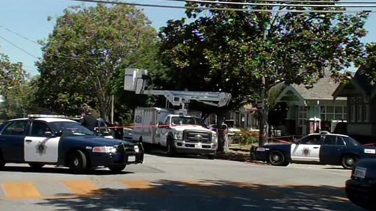 A man died after falling from a boom truck in San Jose, Calif. on Wednesday, June 24, 2015.