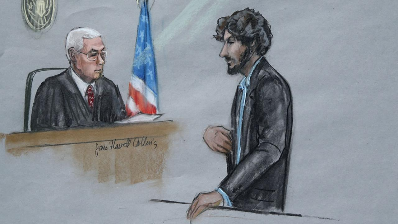 Boston Marathon bomber Dzhokhar Tsarnaev stands before U.S. District Judge George OToole Jr. during his sentencing in Boston, Wednesday, June 24, 2015. (AP Photo)