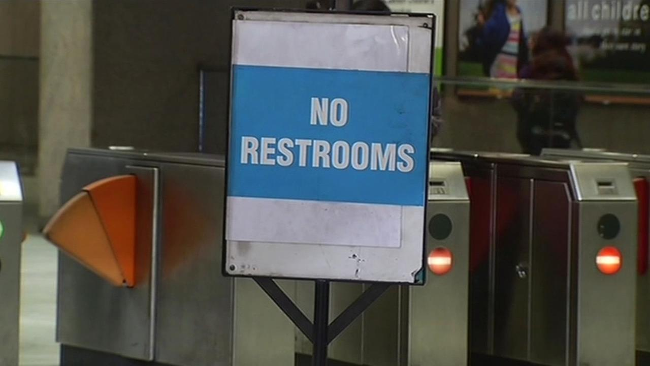 FILE - A sign is seen indicating a BART restroom is closed in this undated image.