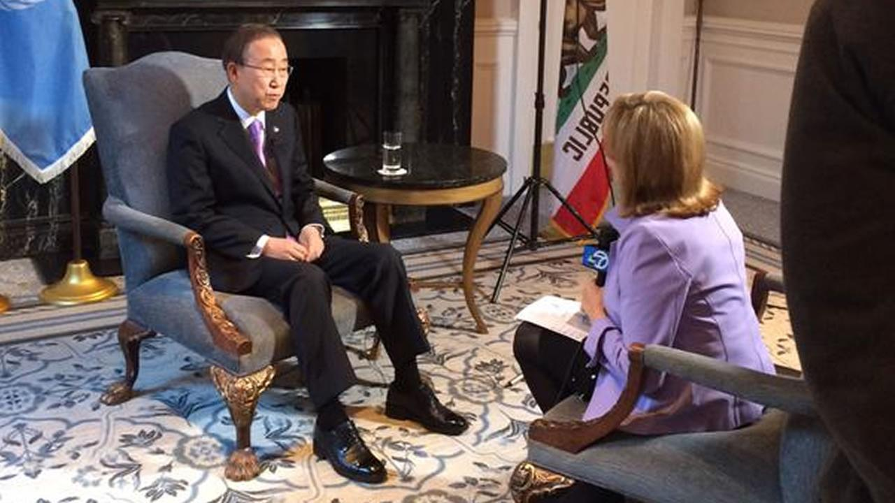 U.N. Secretary General Ban Ki Moon spoke with ABC7 News Anchor Cheryl Jennings following the Supreme Court ruling on same-sex marriage on Friday, June 26, 2015.