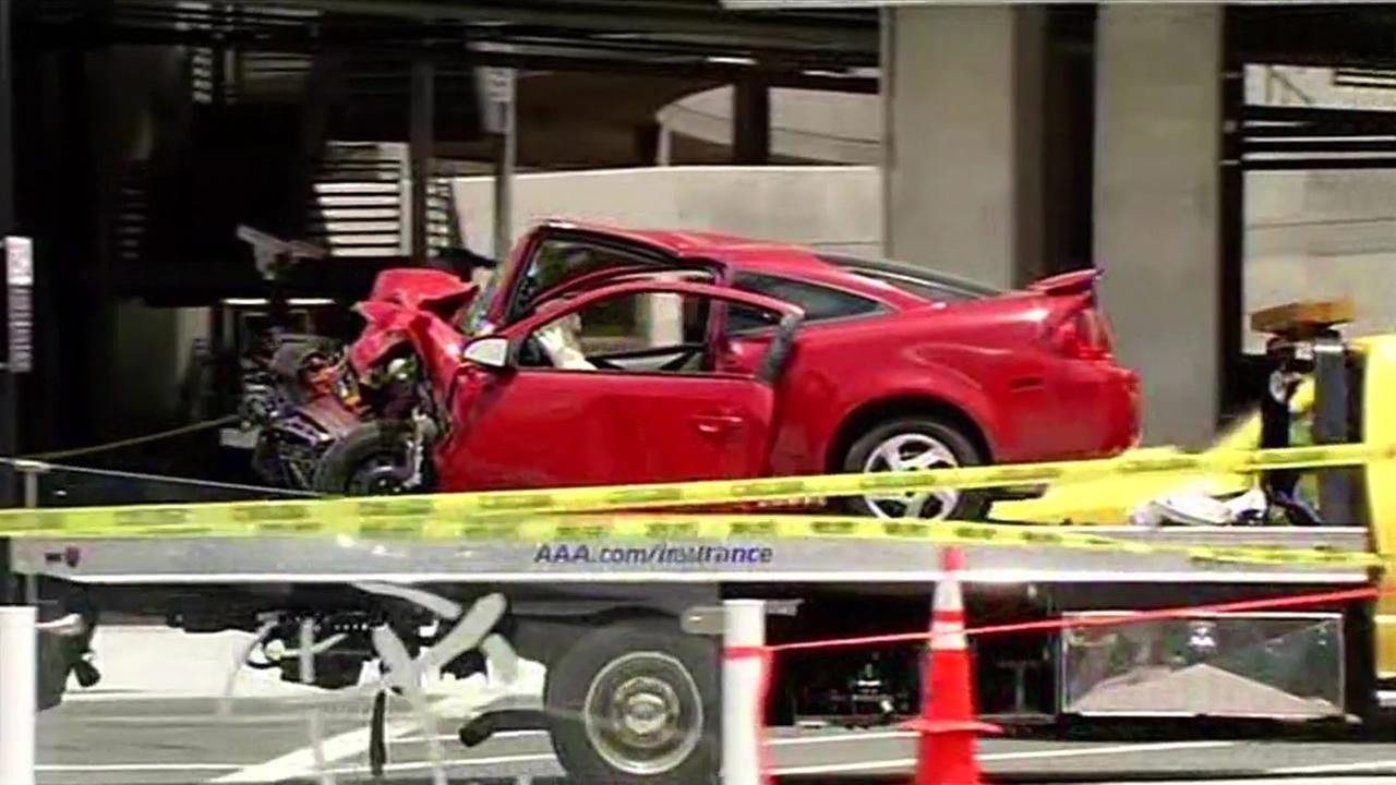 The 25-year-old woman who was driving this red Pontiac was pronounced dead after crashing into an SUV on Wednesday, July 1, 2015 at  the San Jose Airport.