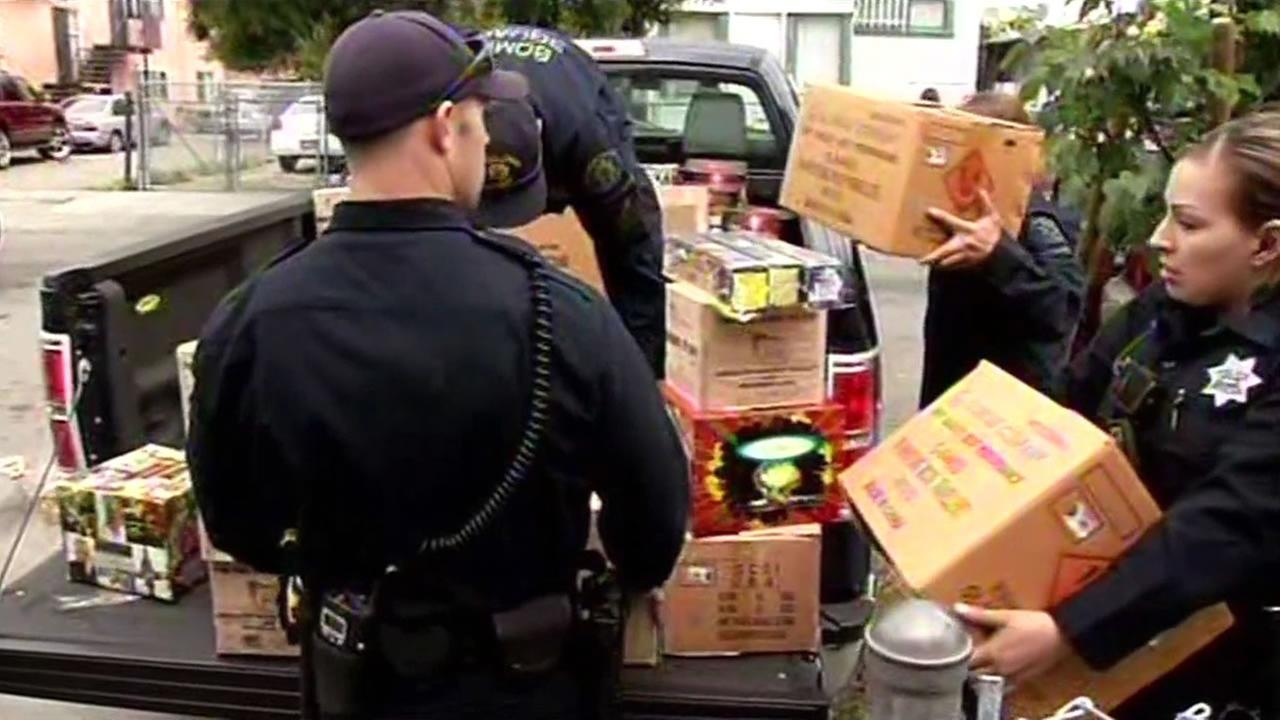 Oakland police conducted what may be their biggest fireworks raid in decades with a street value of $50,000