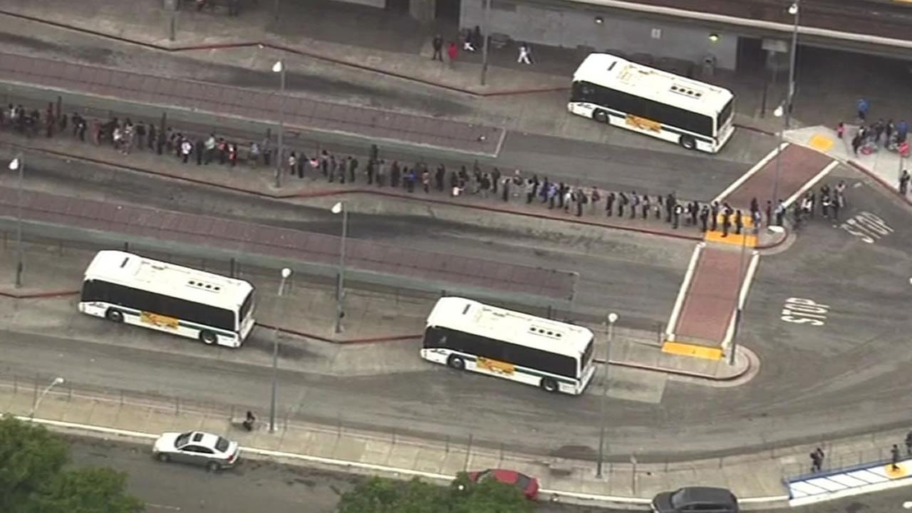 Hundreds of BART commuters were stranded following a fire that broke out  beneath a car as it was leaving the Oakland Coliseum Station on Thursday, July 09, 2015.