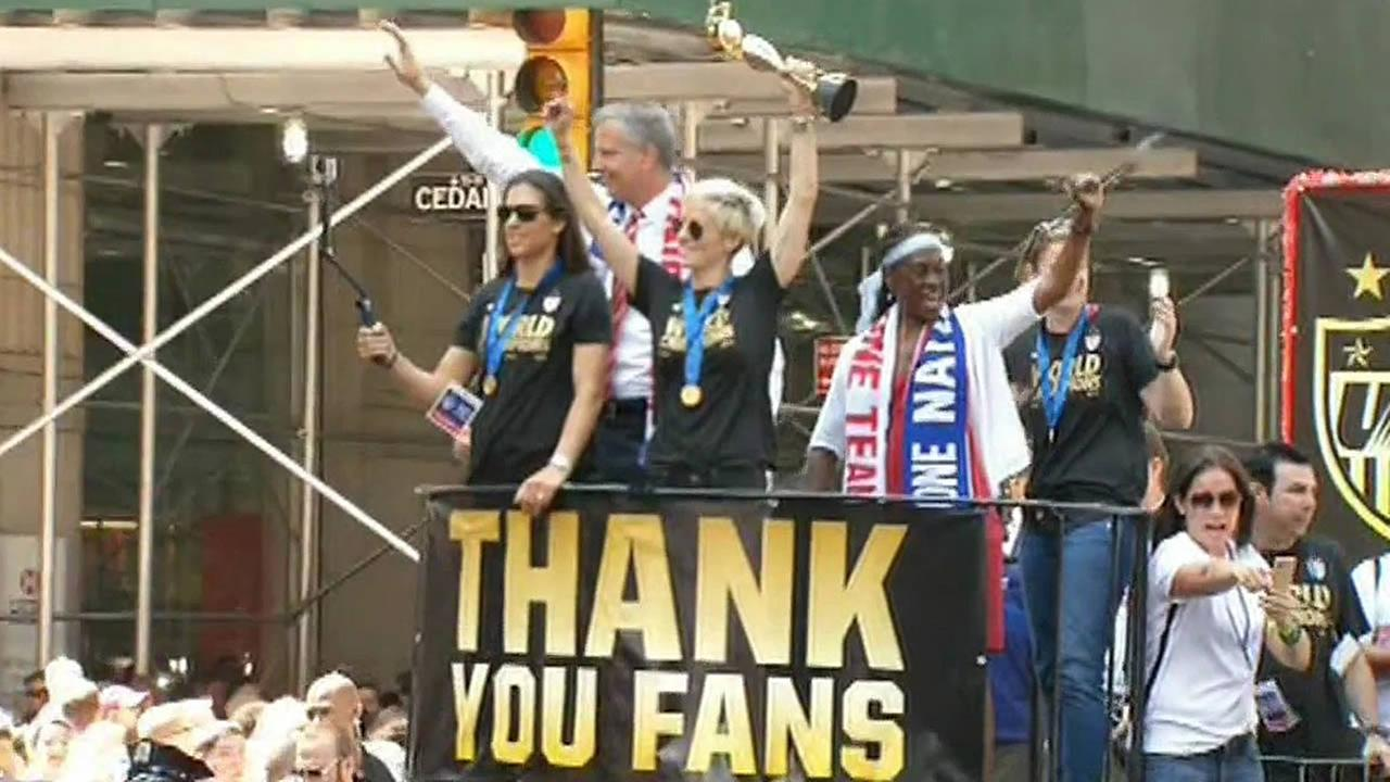 U.S. womens soccer team at the parade in NYC