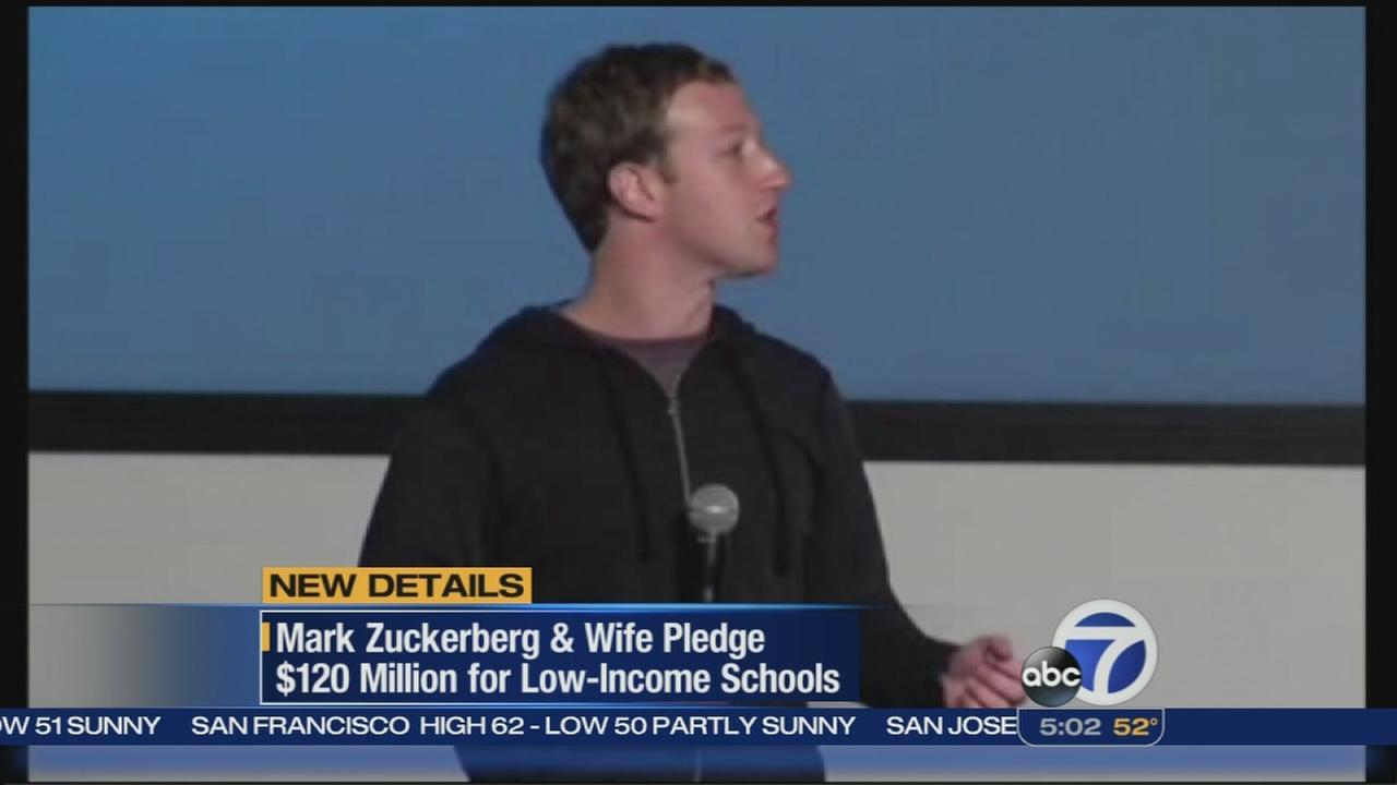 Zuckerberg and wife pledge large donation to schools