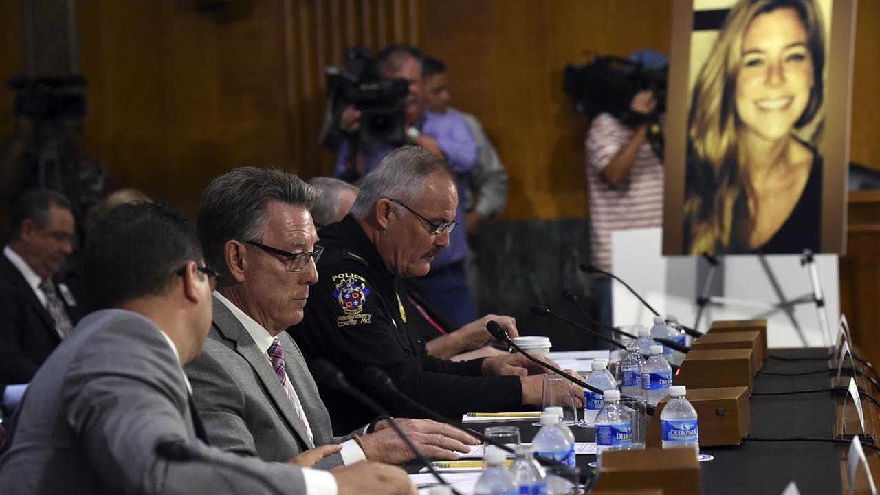 Jim Steinle, second from left, father of Kathryn Steinle, in photograph, testifies before a Senate Judiciary hearing in Washington, Tuesday, July 21, 2015. (AP Photo/Molly Riley)