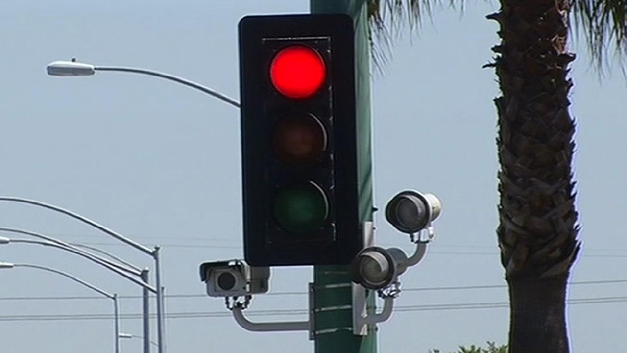 FILE - A red light camera is seen in Millbrae in this undated image.