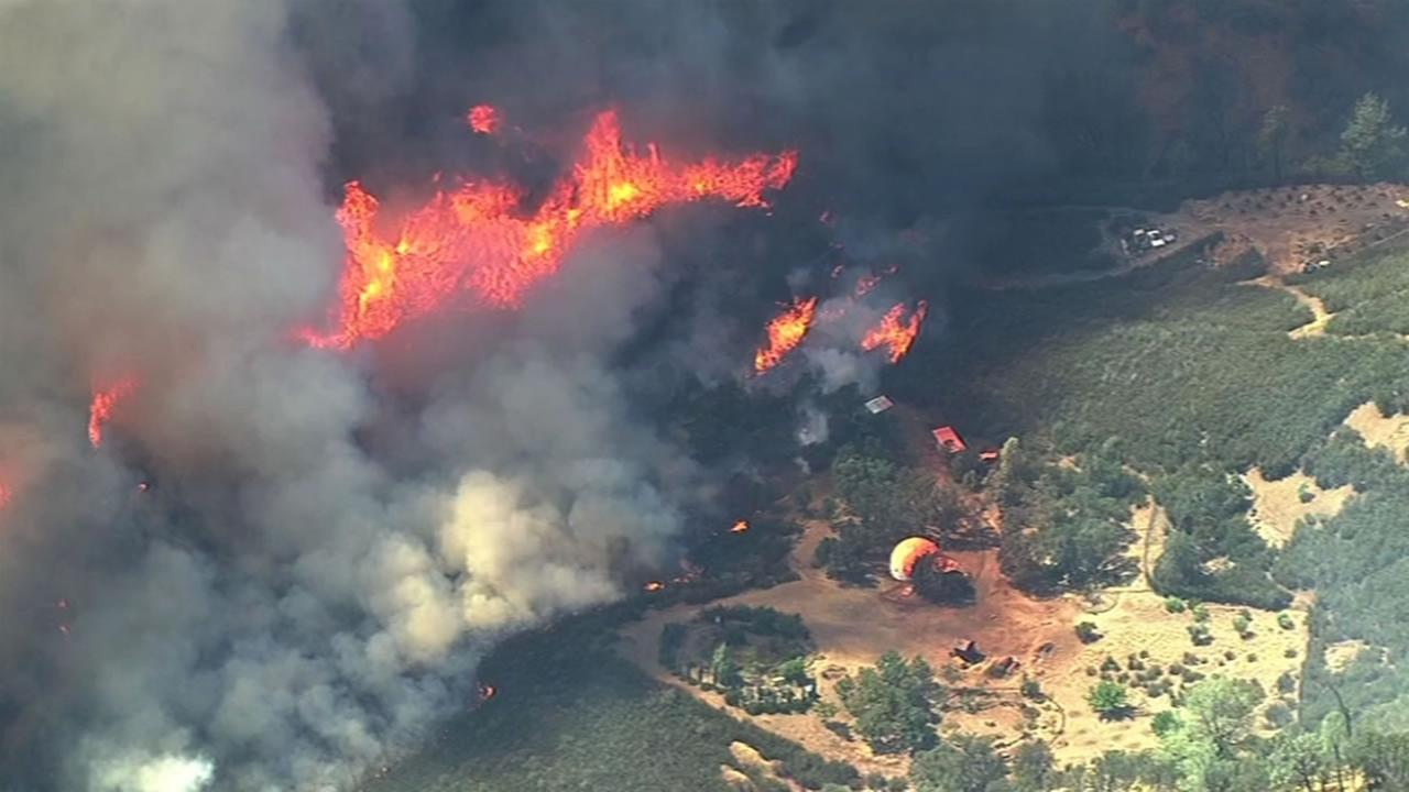 Sky7 HD captured aerials of the growing Rocky Fire near Clearlake, Calif., August 3, 2015.