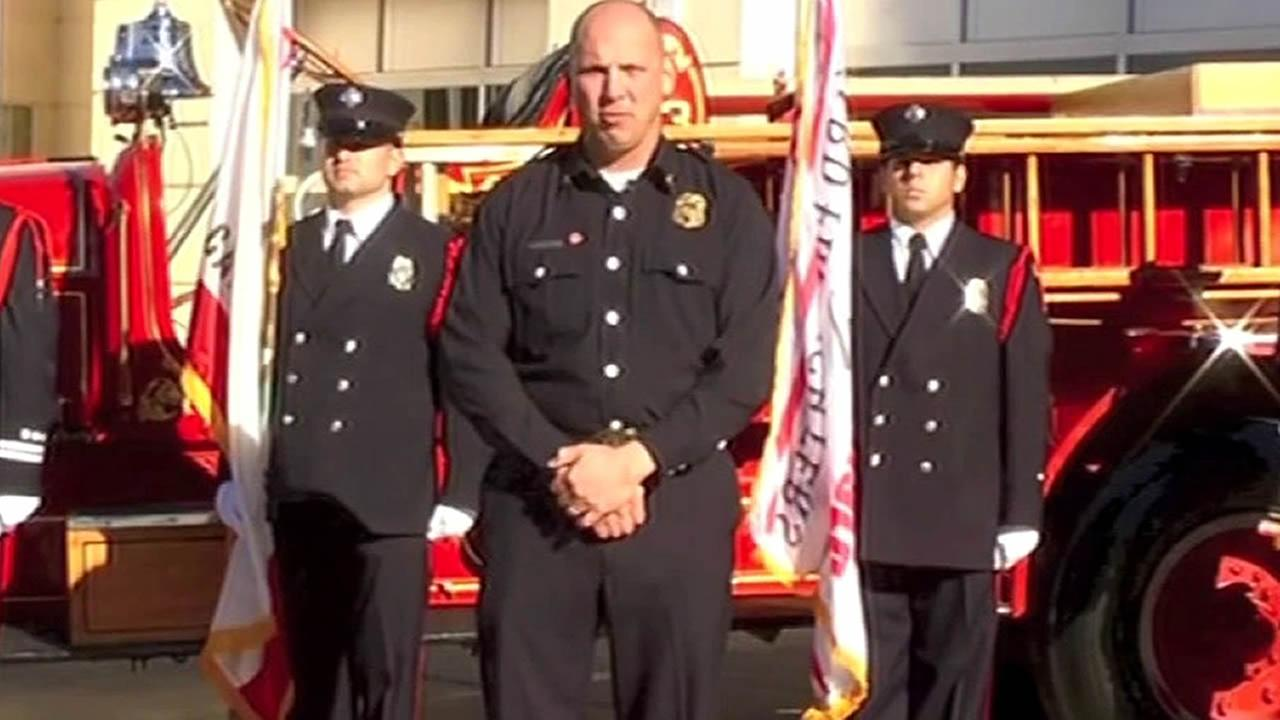 FILE - Hayward Fire Department Chief Garrett Contreras is seen in a video posted on YouTube in this undated image.