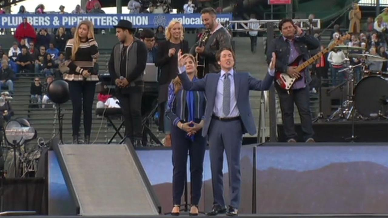 Mega-church leaders Joel and Victoria Osteen hold A Night of Hope at AT&T Park in San Francisco August, 8, 2015.