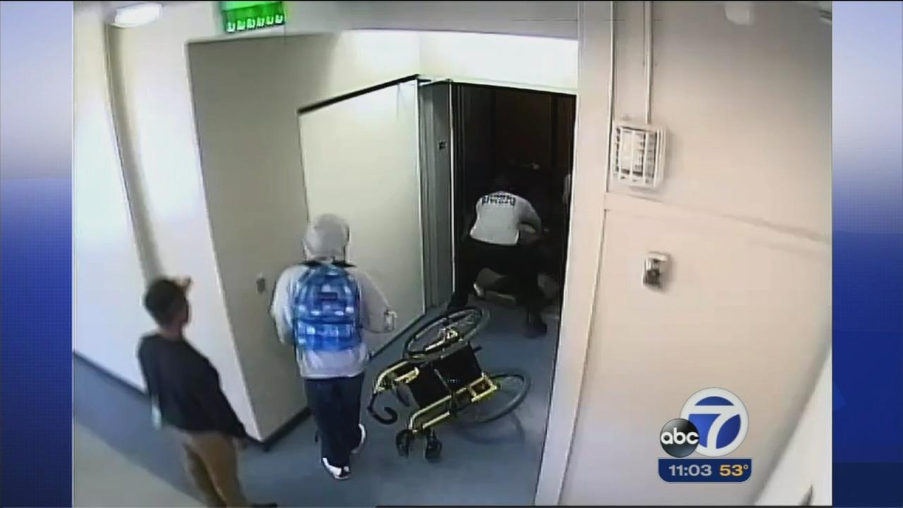 Surveillance footage shows start of security guard beating