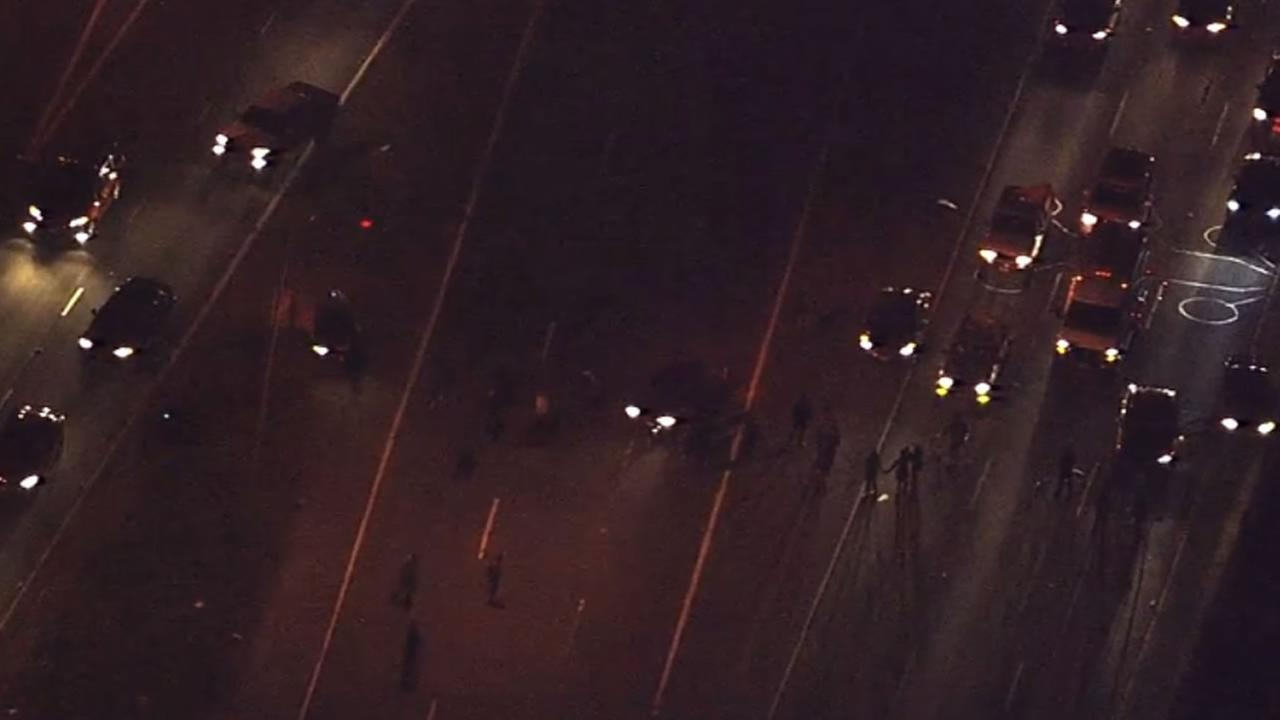Protesters demonstrating against an officer-involved shooting in Oakland have blocked traffic on I-980 near 27th Street, August 12, 2015.