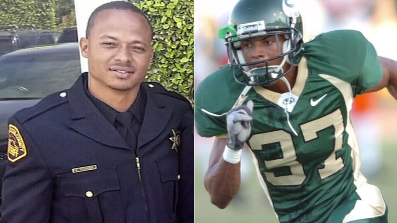 Deputy Carlos Francies, 30, who played football at Sacramento State, died trying to save a friend at Lake Tahoe, on Thursday, August 13, 2015.