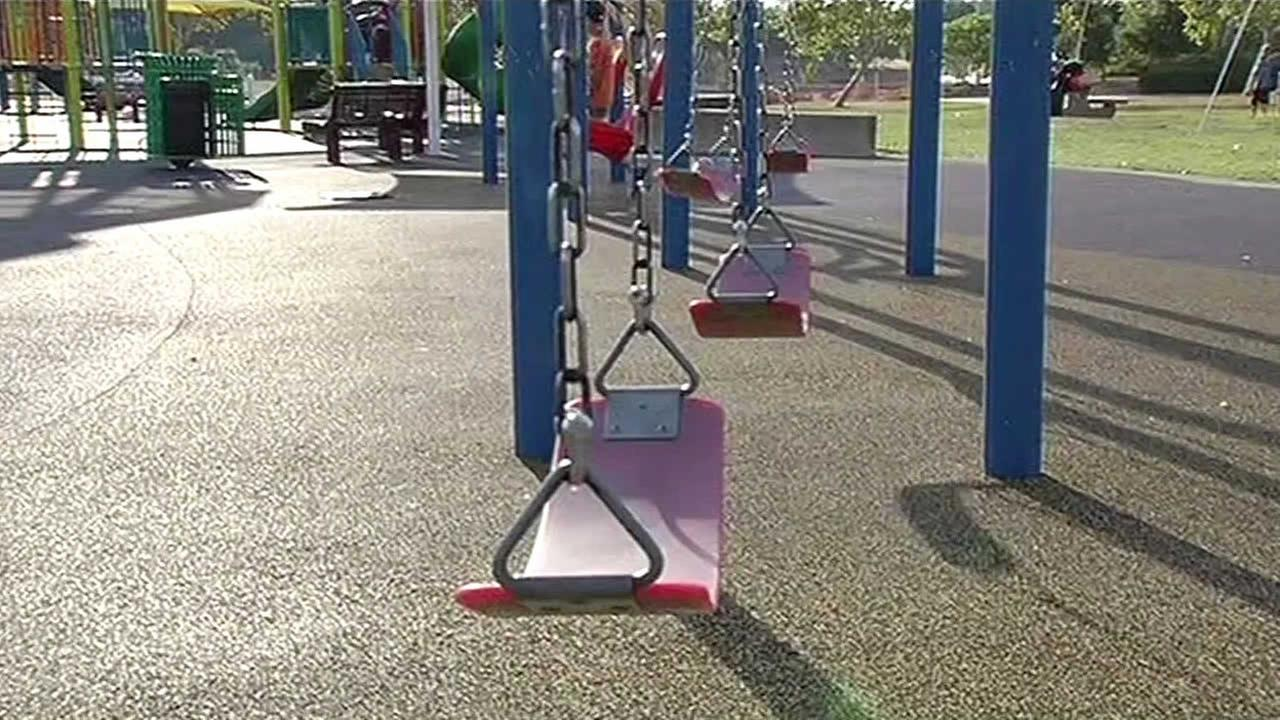 FILE - A playground swing is seen in this undated photo.
