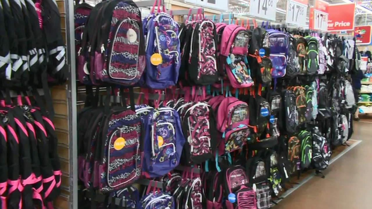 FILE - Backpacks are seen at a store in this undated photo.
