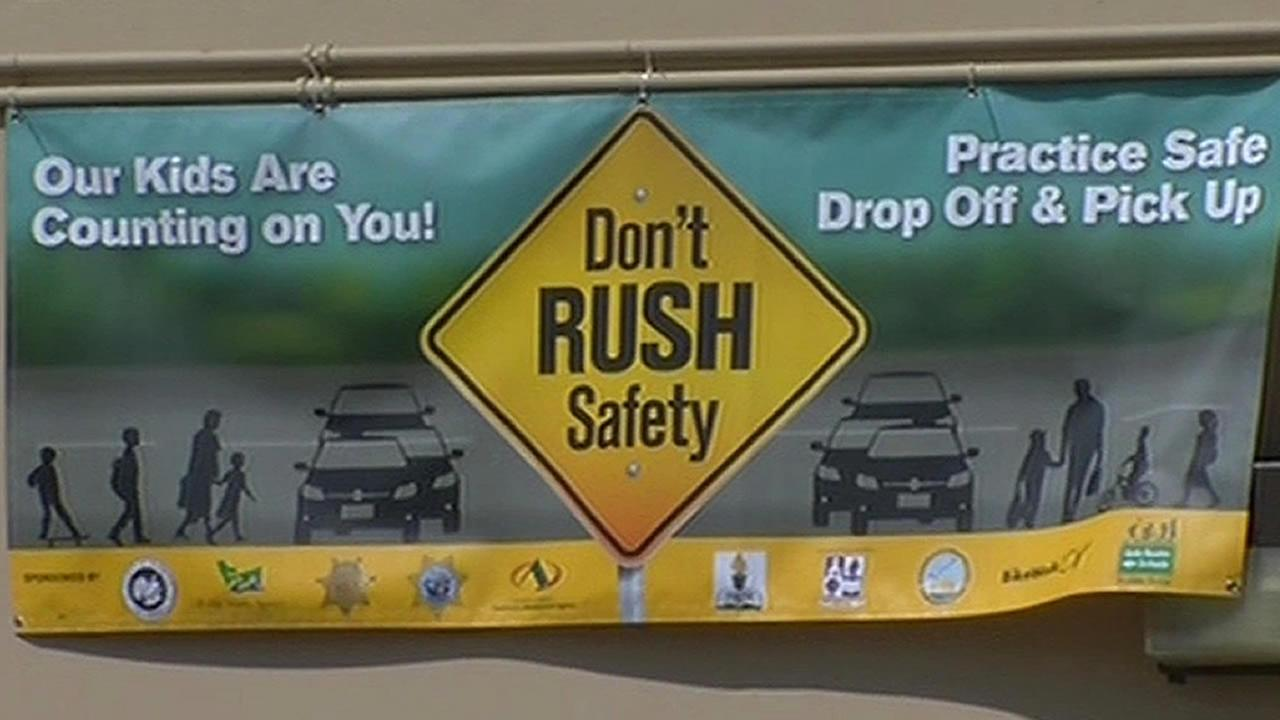 A banner that reads: Dont rush safety is seen at Colonial Acres Elementary School in Hayward on Tuesday, August 18, 2015.