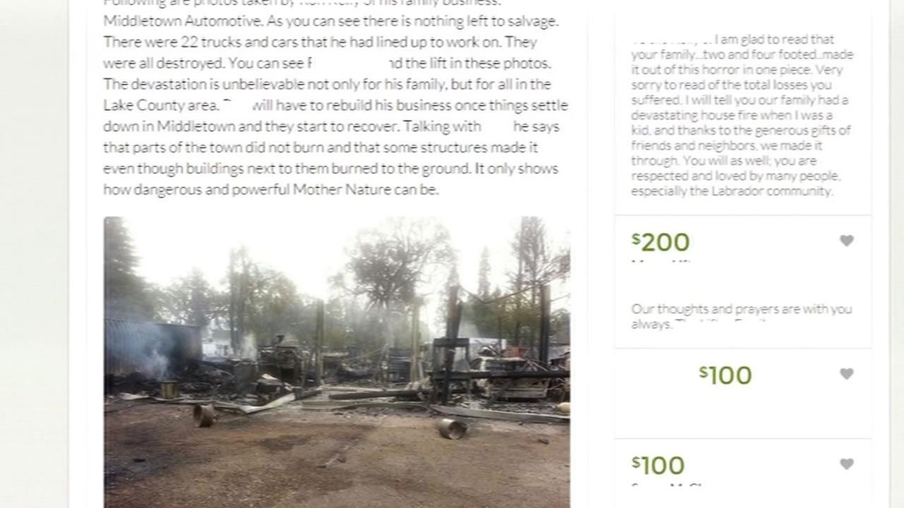 A crowdfunding page is set up to help victims of the Valley Fire in three Northern California counties.