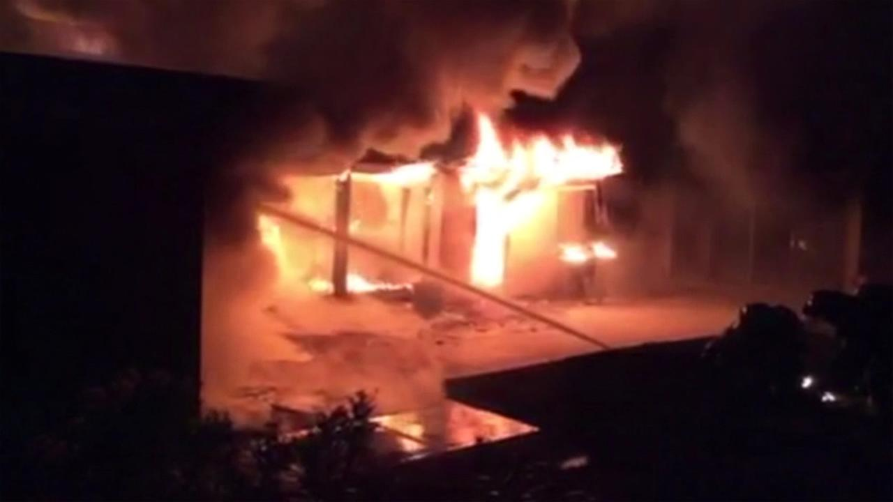 Firefighters battled a one-alarm fire that destroyed a luxury home in Alamo, Calif. on Thursday, September 24, 2015.