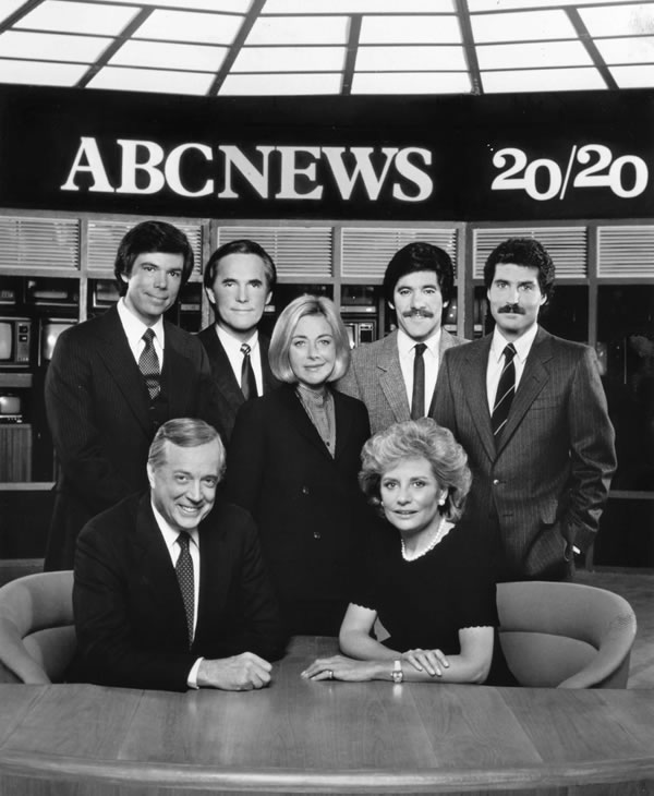 Hugh Downs and Barbara Walters anchored 20/20 with correspondents (l-r) Bob Brown, Tom Jarriel, Sylvia Chase, Geraldo Rivera and John Stossel in 1983. <span class=meta>ABC/STEVE FENN</span>