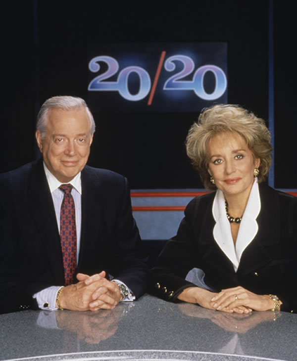 Hugh Downs and Barbara Walters on the set of 20&#47;20. The duo anchored the program together from 1979 until 1999 when Hugh Downs retired.  <span class=meta>(ABC&#47;STEVE FENN)</span>