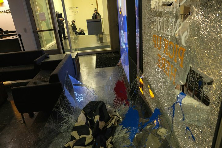 "<div class=""meta image-caption""><div class=""origin-logo origin-image none""><span>none</span></div><span class=""caption-text"">Broken glass litters the ground of the Martin Luther King Student Union at U.C. Berkeley on Feb. 2, 2017. (Wayne Freedman)</span></div>"