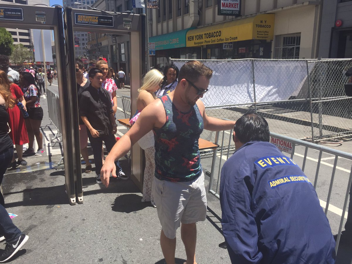 <div class='meta'><div class='origin-logo' data-origin='none'></div><span class='caption-text' data-credit='KGO-TV'>This image shows participants clearing a security checkpoint at San Francisco Pride on Saturday, June 25, 2016.</span></div>