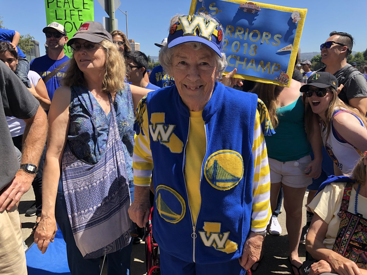 <div class='meta'><div class='origin-logo' data-origin='none'></div><span class='caption-text' data-credit='KGO-TV'>89-year-old Audie waits for Klay Thompson during the Warriors parade in Oakland, Calif. on Tuesday, June 12, 2018.</span></div>