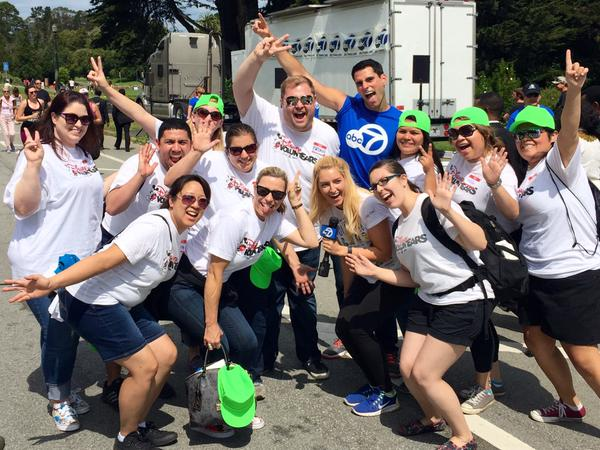 <div class='meta'><div class='origin-logo' data-origin='none'></div><span class='caption-text' data-credit='Photo submitted to KGO-TV by Brian C/Twitter'>ABC7 Meteorologist Drew Tuma strikes a pose with some Disney voluntEARS at AIDS Walk San Francisco in Golden Gate Park on Sunday, July 17, 2015.</span></div>