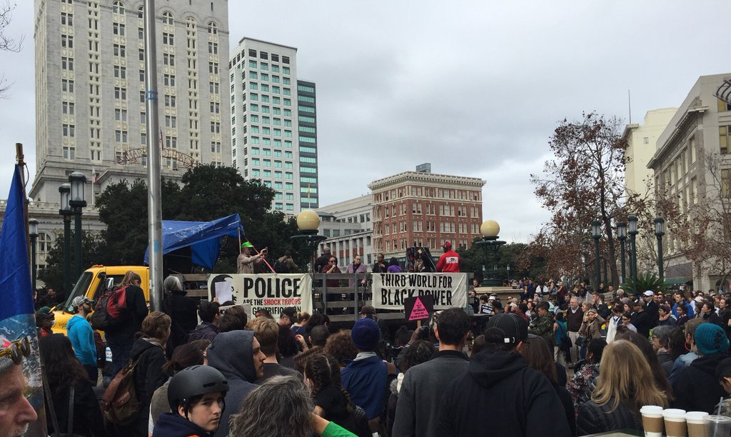 <div class='meta'><div class='origin-logo' data-origin='none'></div><span class='caption-text' data-credit='KGO-TV'>Activists gather in Oakland, Calif., on Monday, January 18, 2016, for the &#34;96 Hours of Direct Action to Reclaim King's Radical Legacy&#34; part of the &#34;Reclaim MLK Weekend.&#34;</span></div>