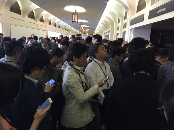 "<div class=""meta image-caption""><div class=""origin-logo origin-image none""><span>none</span></div><span class=""caption-text"">Journalists await the opening of the Bill Graham Auditorium for the #AppleEvent in San Francisco on Wednesday, September 9, 2015.  (David Louie/KGO-TV)</span></div>"