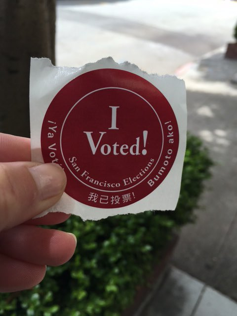 <div class='meta'><div class='origin-logo' data-origin='none'></div><span class='caption-text' data-credit='KGO-TV'>ABC7 News reporter Katie Marzullo shares her voting sticker on Tuesday, June 7, 2016. Send us your Election Day photos and selfies using #abc7now.</span></div>