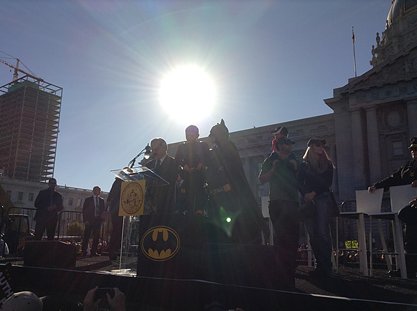 <div class='meta'><div class='origin-logo' data-origin='~ORIGIN~'></div><span class='caption-text' data-credit='KGO'>Batkid at San Francisco's City Hall after recieving the key to the city on November 15, 2013.</span></div>