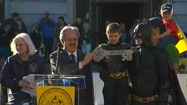 <div class='meta'><div class='origin-logo' data-origin='~ORIGIN~'></div><span class='caption-text' data-credit='Make-A-Wish of the Greater Bay Area'>San Francisco Mayor Ed Lee awards Batkid with the key to the city on November 15, 2013.</span></div>