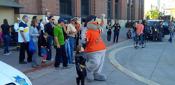 Batkid rescues Lou Seal at San Francisco's AT&T on November 15, 2013. <span class=meta>@SFPD</span>