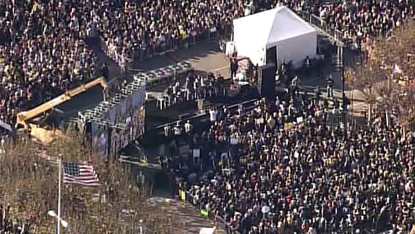 A large crowd waits for the arrival of Batkid at City Hall in San Francisco before he is awarded the key to the city on November 15, 2013. <span class=meta>KGO</span>