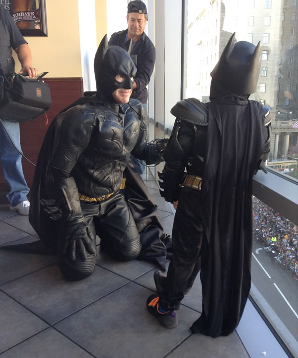 <div class='meta'><div class='origin-logo' data-origin='~ORIGIN~'></div><span class='caption-text' data-credit='KGO'>Batkid looks over a large crowd in San Francisco's Union Square on November 15, 2013.</span></div>