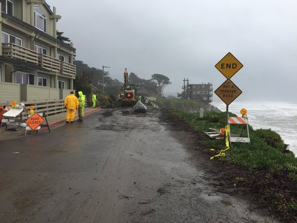 <div class='meta'><div class='origin-logo' data-origin='none'></div><span class='caption-text' data-credit='KGO-TV'>Crews in Half Moon Bay, Calif., work to keep a section of Mirada Road from falling into the ocean on Friday, January 22, 2016.</span></div>