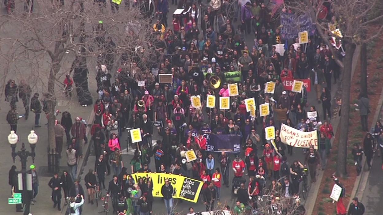 <div class='meta'><div class='origin-logo' data-origin='none'></div><span class='caption-text' data-credit='KGO-TV'>Activists march through Oakland, Calif., on Monday, January 18, 2016, for the &#34;96 Hours of Direct Action to Reclaim King's Radical Legacy&#34; part of the &#34;Reclaim MLK Weekend.&#34;</span></div>