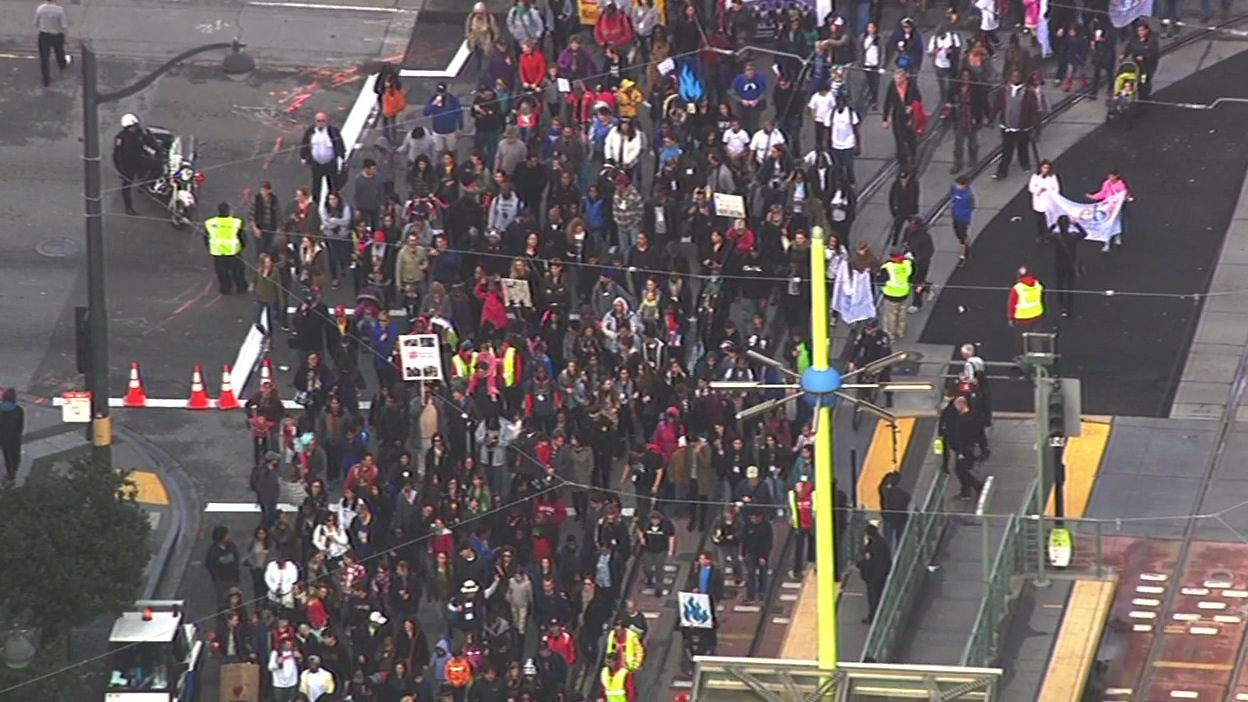 <div class='meta'><div class='origin-logo' data-origin='none'></div><span class='caption-text' data-credit='KGO-TV'>Activists march in San Francisco on Monday, January 18, 2016, to remember the legacy of Martin Luther King , Jr.</span></div>