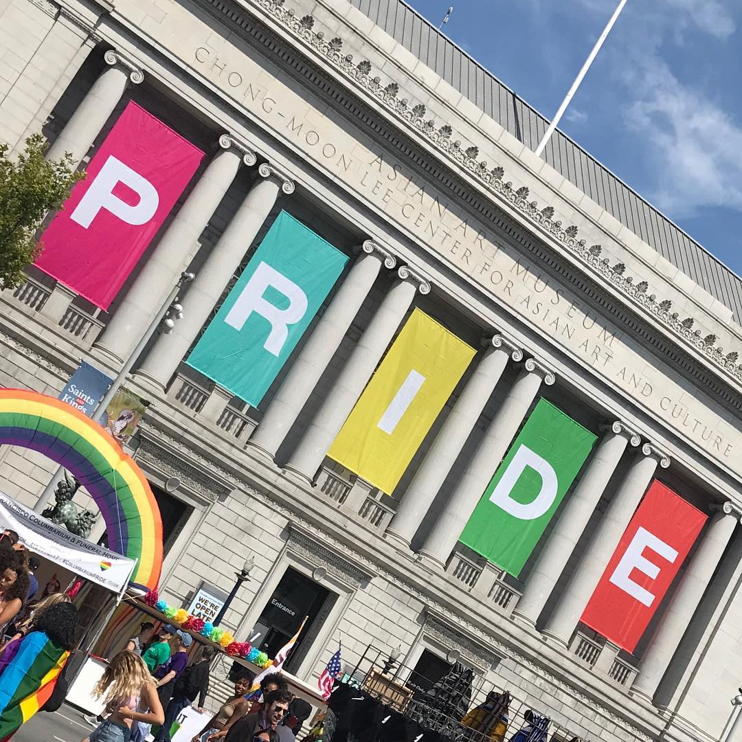 <div class='meta'><div class='origin-logo' data-origin='KGO'></div><span class='caption-text' data-credit=''>San Francisco City Hall hangs rainbow Pride signs outside in honor of Pride Week. Photo submitted to KGO-TV by @noah.chipley/Instagram</span></div>