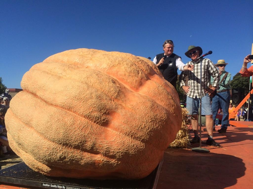 """<div class=""""meta image-caption""""><div class=""""origin-logo origin-image """"><span></span></div><span class=""""caption-text"""">Russ Pugh's pumpkin had a hole, so it was disqualified. But it weighed 1,828 pounds. </span></div>"""