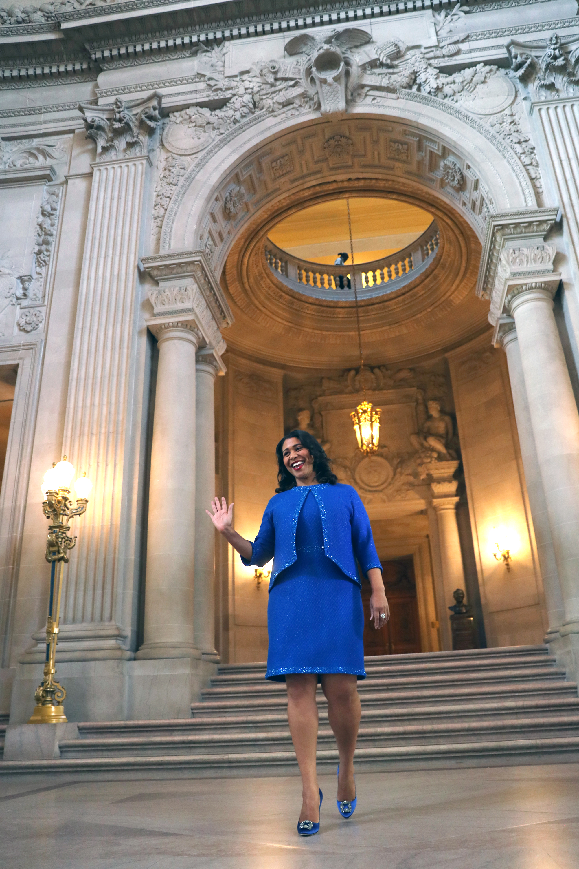 <div class='meta'><div class='origin-logo' data-origin='none'></div><span class='caption-text' data-credit='The Chronicle'>San Francisco Mayor London Breed walks down the City Hall staircase on her way to her inauguration in San Francisco, Calif. on Wednesday, July 11, 2018.</span></div>