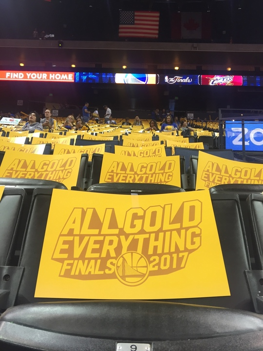 <div class='meta'><div class='origin-logo' data-origin='none'></div><span class='caption-text' data-credit='KGO-TV'>Signs appear at  Oracle Arena at the watch party for Game 4 of the NBA Finals in Oakland, Calif. on June 9, 2017.</span></div>