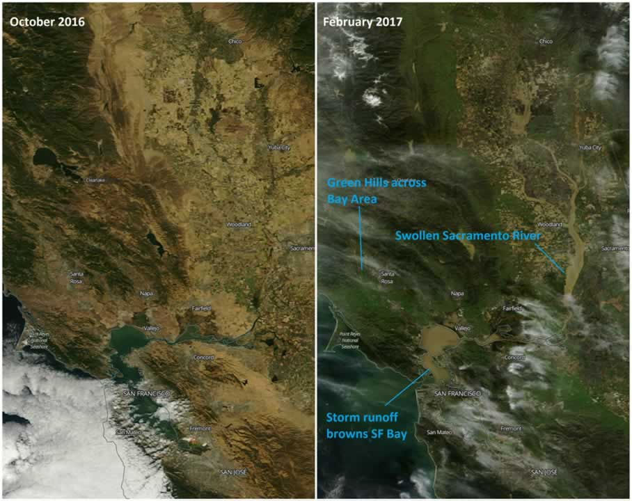 "<div class=""meta image-caption""><div class=""origin-logo origin-image none""><span>none</span></div><span class=""caption-text"">Satellite images taken by NASA show the impact of rivers dumping fresh water and sediment into San  Francisco Bay and Lake Tahoe.  (NASA)</span></div>"