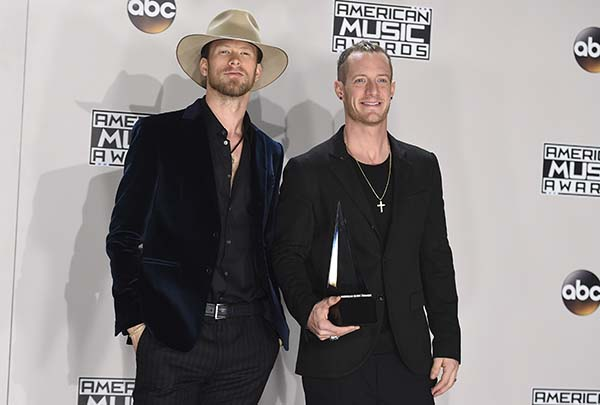<div class='meta'><div class='origin-logo' data-origin='AP'></div><span class='caption-text' data-credit='Jordan Strauss/Invision/AP'>Brian Kelley, left, and Tyler Hubbard, of Florida Georgia Line, at the American Music Awards at the Microsoft Theater on Sunday, Nov. 20, 2016, in Los Angeles.</span></div>