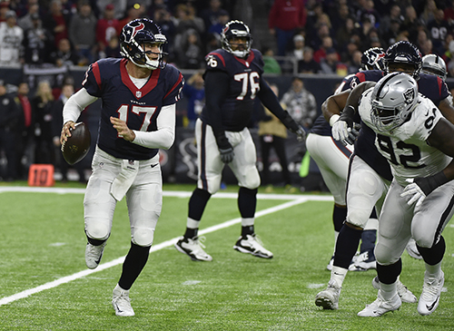 <div class='meta'><div class='origin-logo' data-origin='AP'></div><span class='caption-text' data-credit='AP Photo/Eric Gay'>Houston Texans quarterback Brock Osweiler (17) works against the Oakland Raiders.</span></div>
