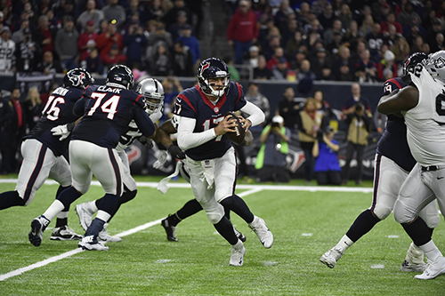 <div class='meta'><div class='origin-logo' data-origin='AP'></div><span class='caption-text' data-credit='AP Photo/Eric Gay'>Houston Texans quarterback Brock Osweiler (17) works against the Oakland Raiders during the second half of an AFC Wild Card NFL game.</span></div>