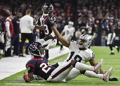 <div class='meta'><div class='origin-logo' data-origin='AP'></div><span class='caption-text' data-credit='AP Photo/Eric Gay'>Oakland Raiders wide receiver Andre Holmes (18) calls for interference call against Houston Texans cornerback Johnathan Joseph (24).</span></div>