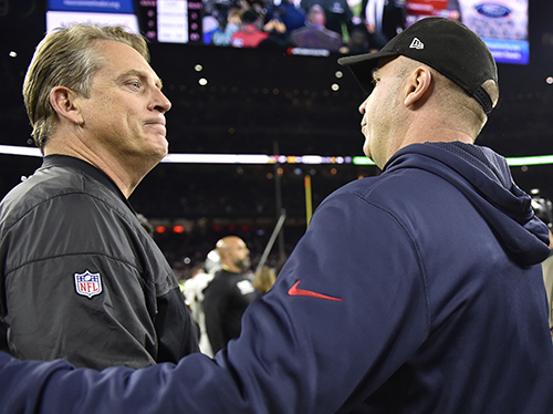 <div class='meta'><div class='origin-logo' data-origin='AP'></div><span class='caption-text' data-credit='AP Photo/Eric Gay'>Oakland Raiders head coach Jack Del Rio, left, speaks with Houston Texans head coach Bill O'Brien an AFC Wild Card NFL football game Saturday, Jan. 7, 2017, in Houston.</span></div>
